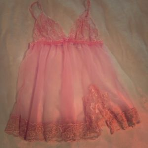 Frederick's of Hollywood Pink Sheer Babydoll